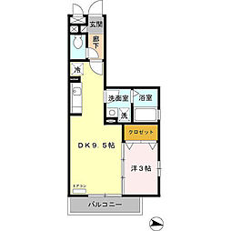 埼玉県草加市苗塚町の賃貸アパートの間取り