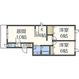 北海道札幌市中央区北三条西26丁目の賃貸アパートの間取り
