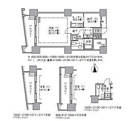 都営大江戸線 汐留駅 徒歩4分の賃貸マンション 5階1Kの間取り
