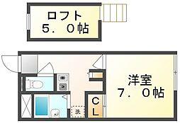 JR予讃線 宇多津駅 徒歩12分の賃貸アパート 1階1Kの間取り
