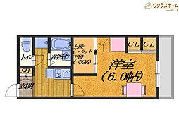 大阪府堺市北区百舌鳥西之町2丁の賃貸アパートの間取り