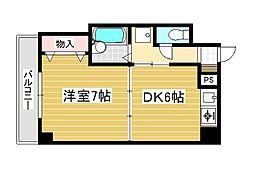 オアシス門司港 2階1DKの間取り