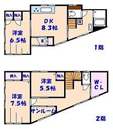 [一戸建] 千葉県船橋市海神1丁目 の賃貸【/】の間取り
