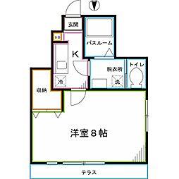 JR中央本線 東小金井駅 徒歩9分の賃貸アパート 1階1Kの間取り