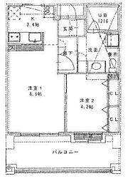 リアンシエルブルー東比恵[5階]の間取り