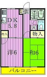 千葉県松戸市五香1の賃貸アパートの間取り