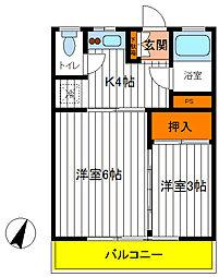 東京都立川市栄町5丁目の賃貸マンションの間取り