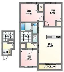 大阪府寝屋川市国松町の賃貸アパートの間取り
