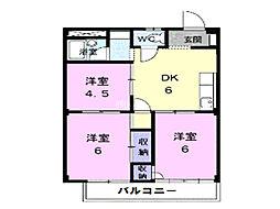 埼玉県上尾市日の出1丁目の賃貸アパートの間取り