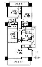 大阪府和泉市いぶき野4丁目の賃貸マンションの間取り