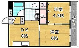 清水谷コーポ[3階]の間取り