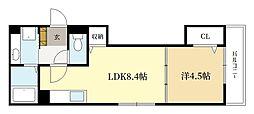近鉄京都線 三山木駅 徒歩5分の賃貸アパート 1階1LDKの間取り