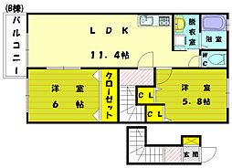 ダンクナトゥアB[2階]の間取り