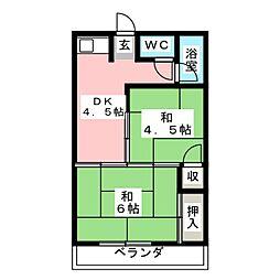 梅本コーポ[1階]の間取り