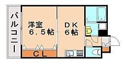 福岡県福岡市中央区笹丘2丁目の賃貸アパートの間取り