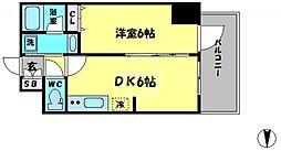 エステムコート大阪新町 8階1DKの間取り