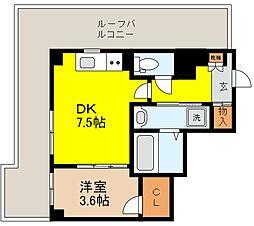 阪神本線 芦屋駅 徒歩9分の賃貸マンション 5階1DKの間取り
