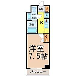 プライムアーバン栄 9階1Kの間取り