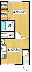 メゾンド大西2 2階1DKの間取り