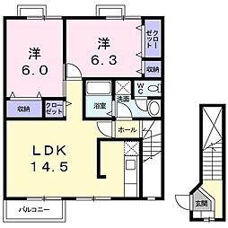 徳島県板野郡藍住町矢上字安任の賃貸アパートの間取り