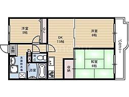 ネオコーポ鶴見緑地[9階]の間取り