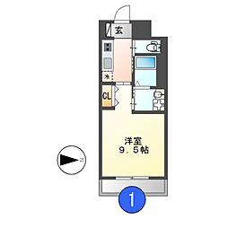 愛知県名古屋市東区古出来1丁目の賃貸マンションの間取り
