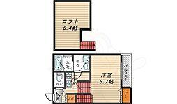 JR大阪環状線 大阪城公園駅 徒歩10分の賃貸アパート 1階ワンルームの間取り