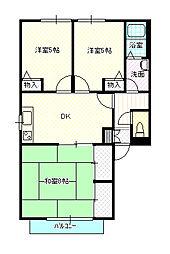 岡山県岡山市南区福成3丁目の賃貸アパートの間取り