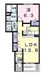滋賀県甲賀市甲南町野尻の賃貸アパートの間取り