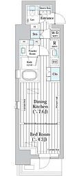 ライオンズフォーシア築地ステーション 4階1DKの間取り