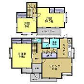 リフォーム済間取りは、1階16.5帖LDKと10帖洋室、2階は6帖と10.5帖洋室2部屋の3LDKの間取です。水回りを全部入れ替え、壁天井床を張り替えました。明るいお家に生まれ変わりました。