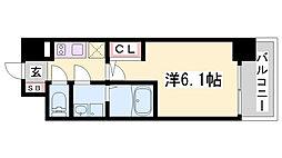 エスリード神戸兵庫駅マリーナスクエア 5階1Kの間取り
