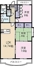 JR日豊本線 隼人駅 徒歩33分の賃貸マンション 2階3LDKの間取り