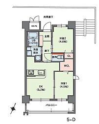 福岡市地下鉄七隈線 桜坂駅 徒歩14分の賃貸マンション 2階2DKの間取り