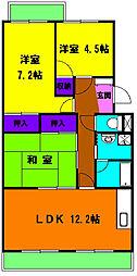 静岡県浜松市南区河輪町の賃貸マンションの間取り