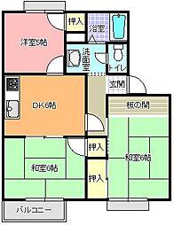 フレグランスツダ B棟[201号室]の間取り