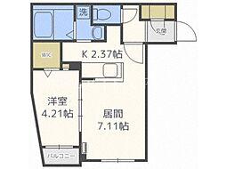 北海道札幌市豊平区水車町8丁目の賃貸マンションの間取り