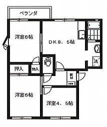 兵庫県相生市山手2丁目の賃貸アパートの間取り