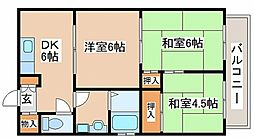 兵庫県明石市魚住町西岡の賃貸マンションの間取り