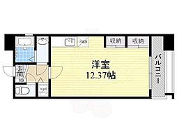 Osaka Metro中央線 阿波座駅 徒歩4分の賃貸マンション 6階ワンルームの間取り