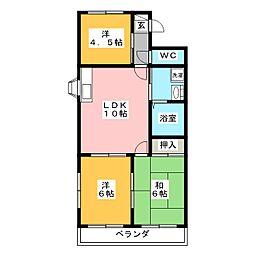 コンフォート粟野[1階]の間取り