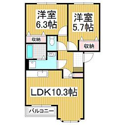ベアキャニオン 2階2LDKの間取り