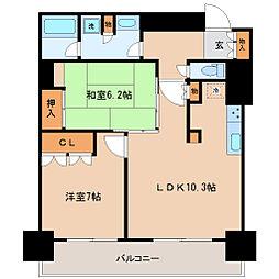 仙台市営南北線 五橋駅 徒歩5分の賃貸マンション 17階2LDKの間取り