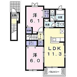 コンフォート田川・姶良 2階2LDKの間取り
