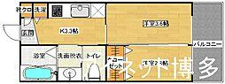 西鉄天神大牟田線 大橋駅 徒歩10分の賃貸アパート 2階2Kの間取り