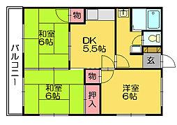 上野ハイツ[1階]の間取り