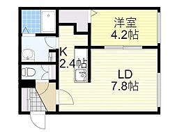 札幌市営南北線 北18条駅 徒歩11分の賃貸マンション 3階1LDKの間取り