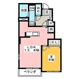 静岡県焼津市三右衛門新田の賃貸アパートの間取り