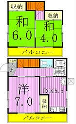 [タウンハウス] 千葉県松戸市栄町8丁目 の賃貸【/】の間取り