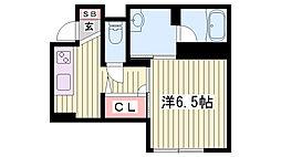 JR東海道・山陽本線 明石駅 徒歩8分の賃貸アパート 1階1Kの間取り